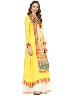 yellow rayon layered kurta - 14924545 - Standard Image - 2
