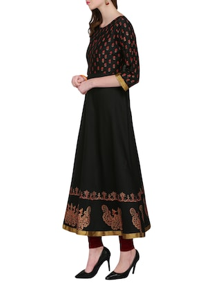 KAANCHIE NANGGIA black cotton blend flared kurta - 14926701 - Standard Image - 2