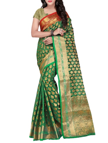 39dcbcf292d8a Buy Green Silk Blend Woven Saree With Blouse for Women from Lilots ...