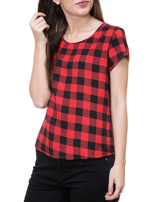 cap sleeved checkered top - 14933340 - Standard Image - 2