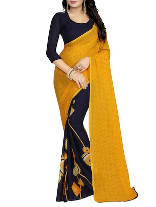 yellow georgette printed saree with blouse