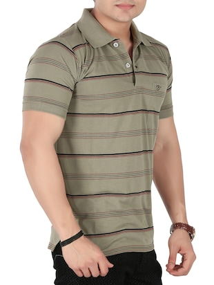 olive green cotton striped -shirt - 14946426 - Standard Image - 2