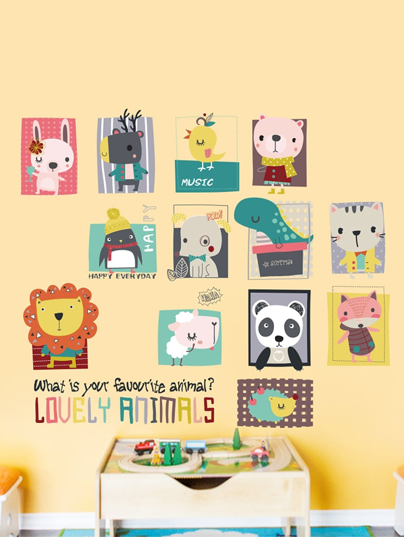 Buy Wall Stickers Cartoon Baby Animals Cute For Nursery Kids Room ...