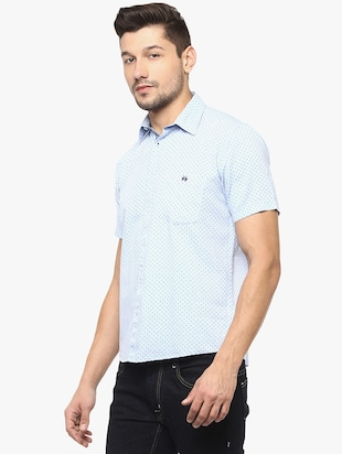 light blue cotton casual shirt - 14955172 - Standard Image - 2