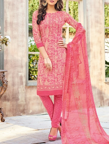 pink crepe churidaar suits unstitched suit - 14957251 - Standard Image - 1
