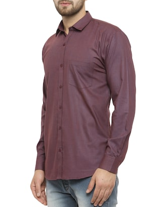 purple cotton casual shirt - 14957422 - Standard Image - 2
