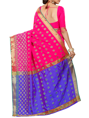 pink patola silk saree with blouse - 14958477 - Standard Image - 2