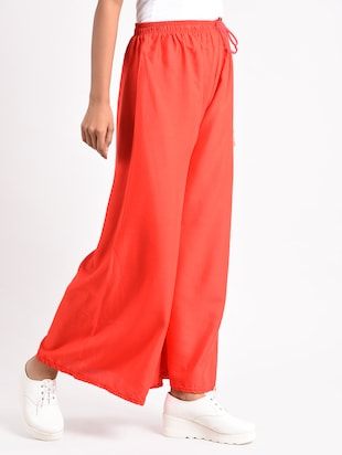 red solid cotton palazzo - 14961914 - Standard Image - 2