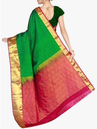The Chennai Silks green kanjivaram saree with blouse - 14962624 - Standard Image - 2