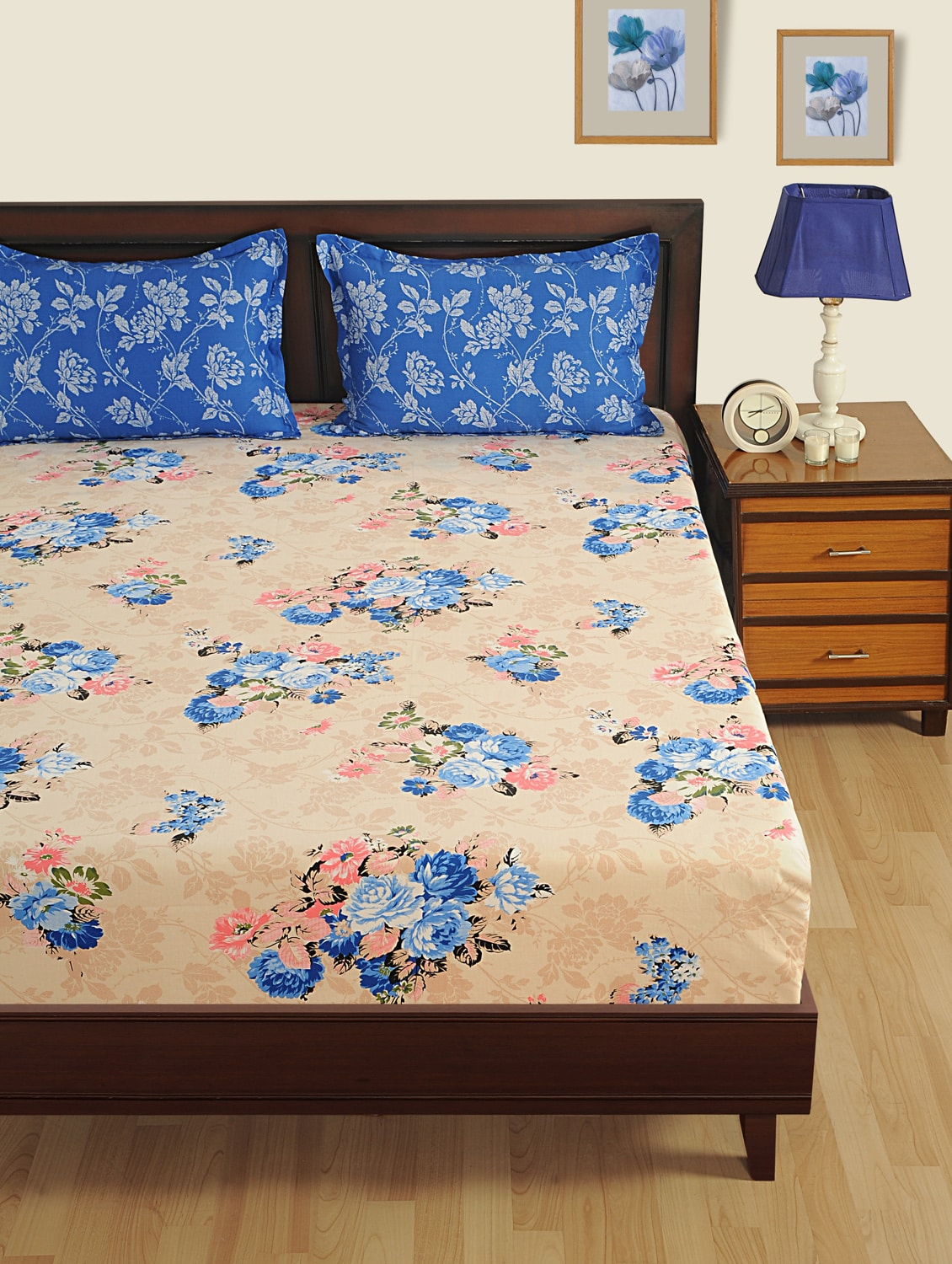Buy Floral Fitted Double Bed Sheet With 2 Pillow Covers By Swayam   Online  Shopping For Bed Sheet Sets In India | 14964007
