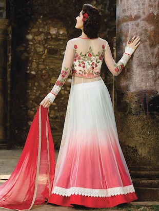 white net flared suits semistitched suit - 14965274 - Standard Image - 2