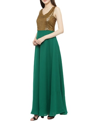 green georgette gown dress - 14966383 - Standard Image - 2