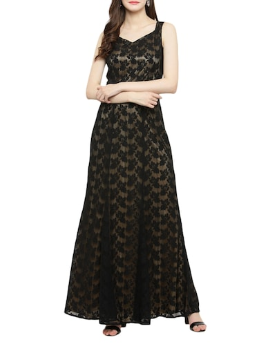 black laced gown dress - 14966390 - Standard Image - 1