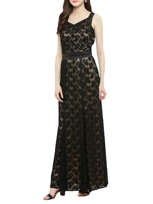 black laced gown dress - 14966390 - Standard Image - 2