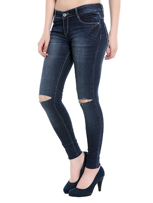 dark blue denim knee slit jeans - 14966636 - Standard Image - 2