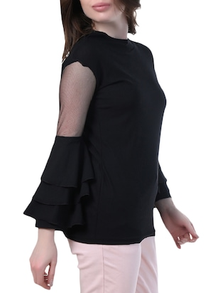 mesh insert layered bell sleeved top - 14967012 - Standard Image - 2