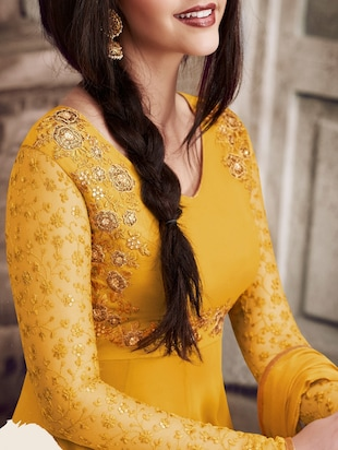 embroidered semi-stitched suit - 14968320 - Standard Image - 2