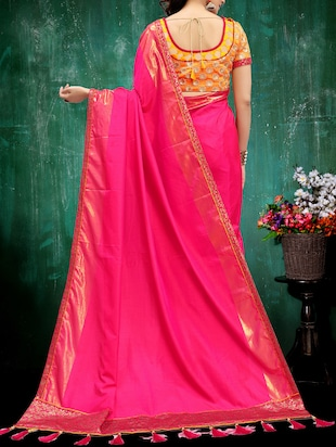 magenta silk bordered saree with blouse - 14969652 - Standard Image - 2