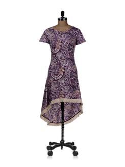 Asymmetrical Purple Paisley Dress - REME