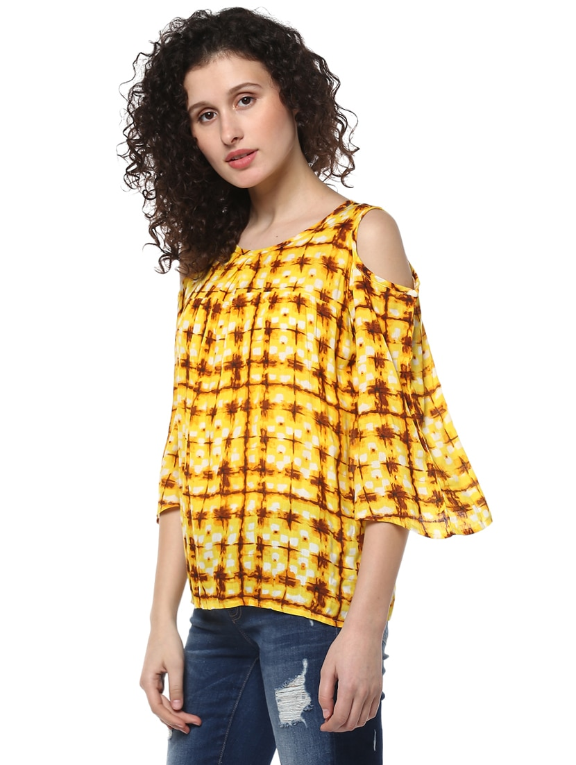 3c7ac64b513b3e Buy Yellow Printed Cold Shoulder Top by Mayra - Online shopping for ...