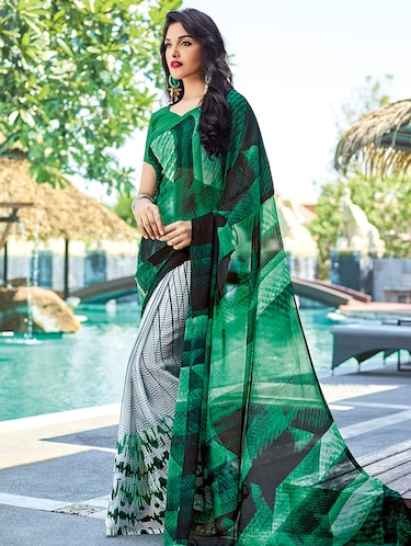 ca476d952ac371 Buy Olive Georgette Printed Saree With Blouse for Women from Shaily ...