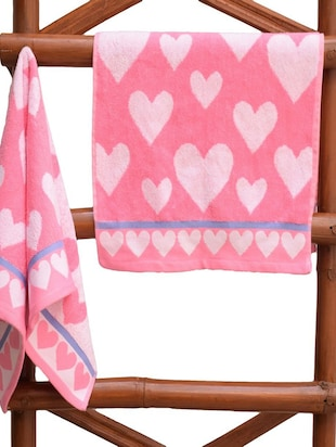 Hearts Cotton Hand Towel, 2 piece, 600 GSM, (Pink) - 14988258 - Standard Image - 2
