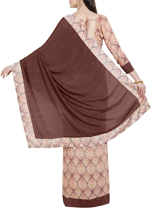 brown crepe half and half saree with blouse - 14988624 - Standard Image - 2