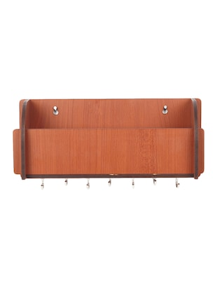 Long Pocket Shelf-Brown KeyHolder Wooden Key Holder (7 Hooks) - 14990913 - Standard Image - 2