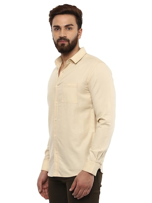 beige cotton casual shirt - 14997409 - Standard Image - 2