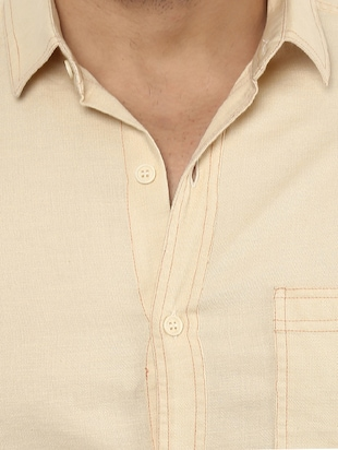 beige cotton casual shirt - 14997409 - Standard Image - 5