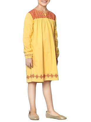 yellow cotton frock - 15000007 - Standard Image - 2
