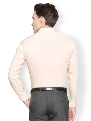 peach cotton formal shirt - 15007165 - Standard Image - 2
