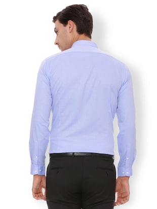 blue cotton formal shirt - 15007177 - Standard Image - 2