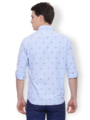blue cotton casual shirt - 15007207 - Standard Image - 2