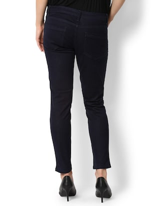 navy blue solid denim jeans - 15007369 - Standard Image - 2