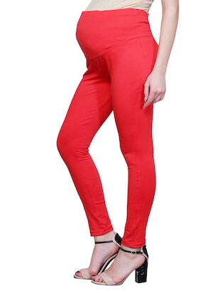 red solid maternity wear leggings - 15007932 - Standard Image - 2