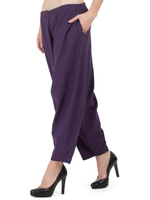 GRASS by Gitika Goyal purple cotton wide leg trouser - 15008111 - Standard Image - 2