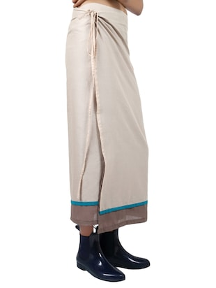 beige solid cotton wrap skirt - 15008122 - Standard Image - 2