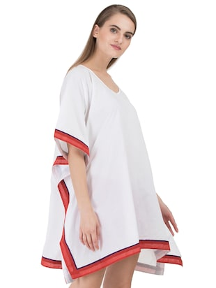 white solid cotton kaftan - 15008123 - Standard Image - 2