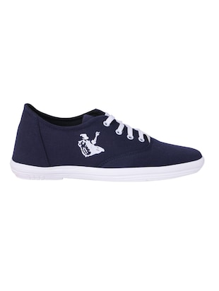 navy Canvas lace up sneaker - 15009880 - Standard Image - 2