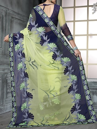 green chiffon embroidered saree with blouse - 15010522 - Standard Image - 2