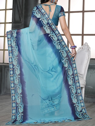 sky blue chiffon embroidered saree with blouse - 15010561 - Standard Image - 2