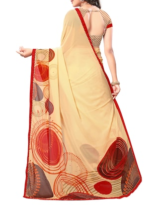 beige georgette printed saree with blouse - 15010609 - Standard Image - 2
