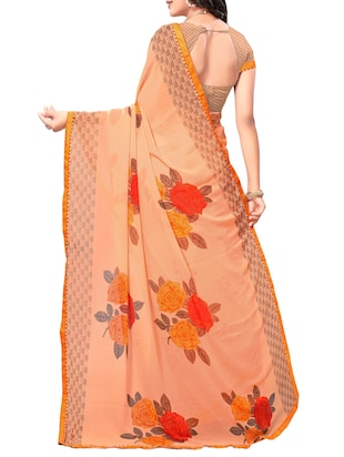 orange georgette printed saree with blouse - 15010611 - Standard Image - 2