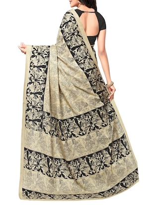 conversational printed saree with blouse - 15010622 - Standard Image - 2