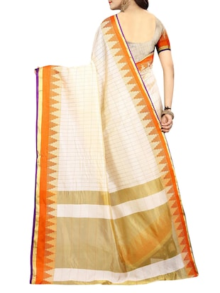 temple bordered art silk saree with blouse - 15010639 - Standard Image - 2