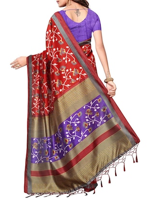 Ditsy floral printed saree with blouse - 15010652 - Standard Image - 2