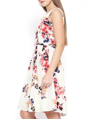 white floral fit and flare dress - 15011288 - Standard Image - 2