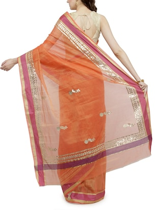 contrast border gota patti saree with blouse - 15012147 - Standard Image - 2