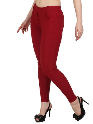 red solid jeggings - 15012454 - Standard Image - 2